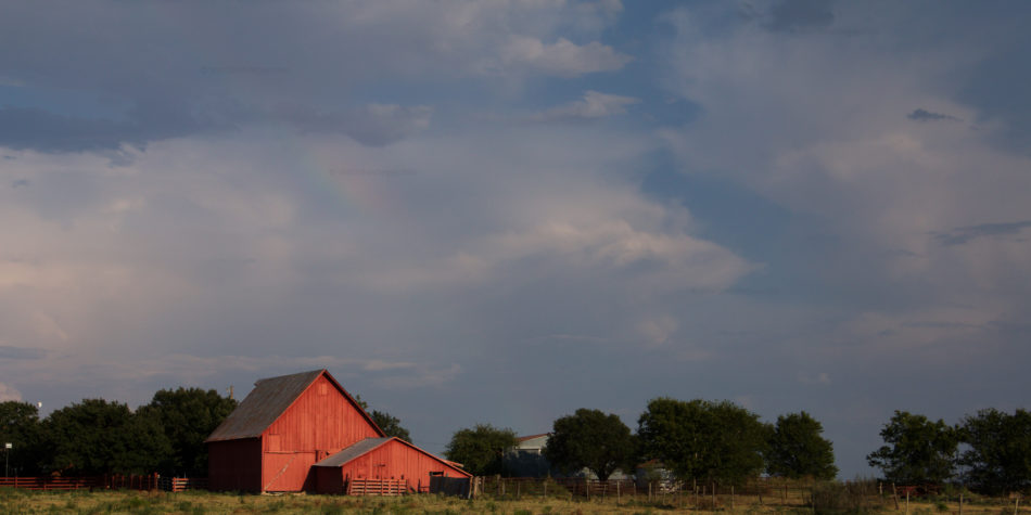 Cute Little Red Barns + Rainbow